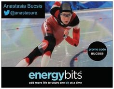 "ANASTASIA BUCSIS: Anastasia is a Canadian National Team long track speedskater and 2x Winter Olympian in the 500m event!  ""I take BITS because they're so easy and effective. They are all natural and provide sustained energy, so no matter what my day may throw at me, I know I have an extra little boost of energy and confidence. ENERGYbits are so easy to transport to the rink/in my gym bag, so I know I'll always have some on hand in case of an emergency as well."""