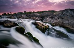 Mather Gorge Dawn: Skies take on amazing pink and purple hues during this late Summer sunrise at #Virginia's Great Falls National Park.  Credits:Alex Mody Photography www.alexmody.com/