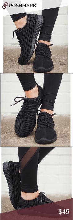 ‼️SALE‼️Black Mesh Fly Knit Sneakers They are perfect! Sporty gone modern. This athleisure Sneaker is an everyday style to wear with cutout jeans or leggings and you me favorite top. Features a perforated Knit breathable material all around with cushioned sole to keep your active sporty life comfy-cute. Bchic Shoes Sneakers