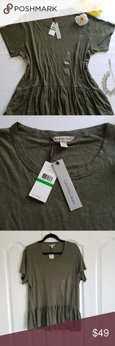 Calvin Klein Jeans Green Peplum T-Shirt Cute and soft Calvin Klein Jeans peplum top. Beautiful Olive green and a relaxed style top. Perfect with jeans and a long necklace for a social Friday at work. Size L. Brand new with tags for the best price! Calvin Klein Jeans Tops Tees - Short Sleeve