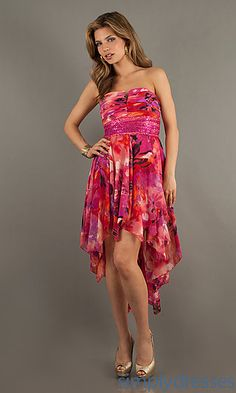 High Low Strapless Print Dress