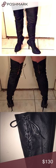 """Be Devious & Indulge in these Leather Thigh Highs! EXTREMELY comfortable yet GENTLY Used Genuine Leather Thigh-High boots. Brand: Devious by Pleasure USA. Model Name: Indulge-3011. Size: 9 w/ a 5 1/2"""" Spiked Heel, w/ a 1 1/4"""" Platform w/ a 12"""" inside zipper for easy on/off, w/ 6 1/2"""" Center back thigh leather shoelace tie up, w/ Shaft measuring at 24 1/3"""", w/ a calf circumference of 14 1/2"""", and measures a whopping 30"""" from the center on the insole to the very top of the boot. Price is…"""