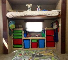 Our home (on wheels) decorating the kids room in the RV travel trailer!