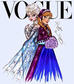 #Hayden Williams Fashion Illustrations #Disney Divas for Vogue by Hayden Williams: Elsa & Anna