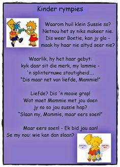 Kinder rympie Animals Name In English, Grade R Worksheets, Afrikaans Language, Dutch Language, Afrikaans Quotes, Kids Poems, Rhymes Songs, Preschool Songs, School Posters