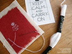 A miniature embroidery on a small scrap of hand painted linen. Free chart and tutorial!