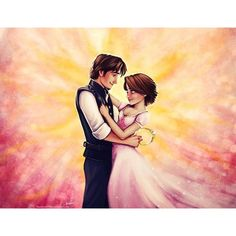 Flynn and Rapunzel Fan Art by BlueAbyss ❤ liked on Polyvore featuring disney