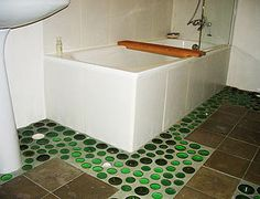 Casa Verde bottle bottoms mosaic bathroom