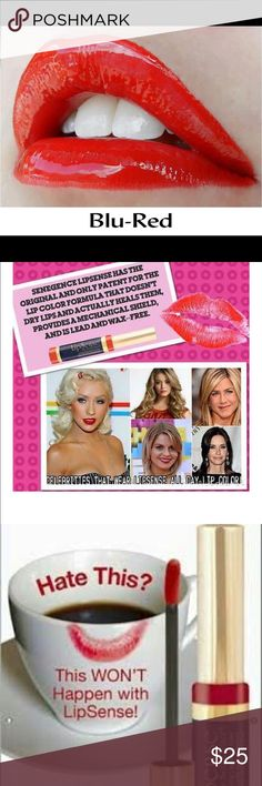 LipSense Blu-Red LipSense is the premier product of SeneGence and is unlike any conventional lipstick, stain or color.  As the original long-lasting lip color, it is waterproof, does not kiss-off, smear-off, rub-off or budge-off!  It is lead and wax free. Create your own color palette by combining shades.  Your customized look will last even longer and your lips will stay moist and plump with LipSense Moisturizing Gloss (sold separately). BUY 2 or more and get a 10% discount! Lipsense Makeup…