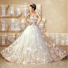 New Crystal Bead Lace Train Shoulders Emperial Wedding Dress Bridal Formal