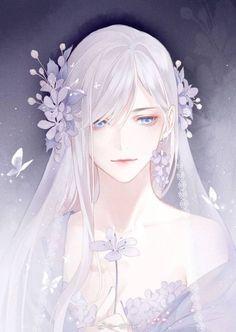 Anime Girl with white long hair holding a flower illustration art Manga Girl, Anime Art Girl, Manga Anime, Anime Girls, Pretty Anime Girl, Beautiful Anime Girl, Art Kawaii, Kawaii Anime, Anime Style