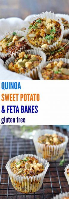 These healthy QUINOA, SWEET POTATO & FETA BAKES are gluten free and freeze perfectly. Great for breakfast, lunch boxes and snacking! | Plus Ate Six