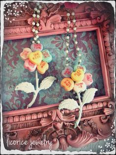 Real Candy Hearts Preserved Shabby Flower Valentine Necklace <3