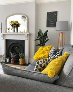 My grey, yellow and white living room, with parquet floor, grey sofa and houseplants. Lovely yellow living room accessories argos only in popi home design Living Room Grey, Living Room Sofa, Home Living Room, Living Room Designs, Living Room Ideas With Grey Couch, Apartment Living, Living Room Decor Colors Grey, Living Room Without Fireplace, Grey Sofa Decor