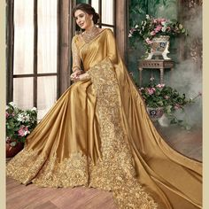 DESIGNER Sari Indian Saree Ethnic Bollywood Pakistani Wedding Party Wear for sale online Pakistani Dresses, Indian Sarees, Indian Dresses, Indian Outfits, Sari Design, Georgette Sarees, Silk Sarees, Georgette Fabric, Golden Saree