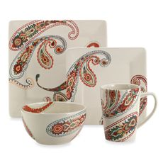 Paisley 4-Piece Dinnerware Set  brings a vibrant and casual elegance to the table. Uniquely simple forms are hand-crafted and hand-painted. - Bed, Bath & Beyond. I own these dishes & use them with great pleasure!