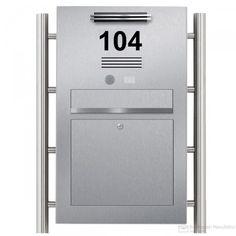 Edelstahl Designer Standbriefkasten BIG mit LED Lichtleiste Anthrazit-Edelstahloptik + Klingel + Hausnummer