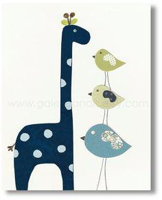 Baby Room Nursery Art, Children Decor, nursery giraffe, kids wall art, nursery birds, kids birds, Taller than You 8x10 print. $14.00, via Etsy.