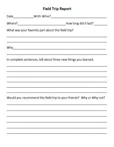 An assortment of homeschool forms -- field trip reports, copies to be made, weekly reading plan, etc.