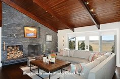 Contemporary Ranch Interior Design by Johnson & Associates Photo Interior Design Images, Contemporary Interior Design, Living Room Lounge, Cozy Living Rooms, Style At Home, Warren House, Mid Century House, Living Room Designs, House Design