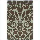 Linon Rugs Trio Rectangular Area Rug in Chocolate and Spa Blue Information