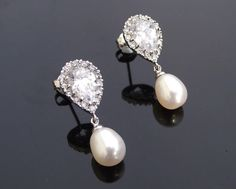 Freshwater Teardrop Pearl & Sterling Silver, Crystal Set Earrings, Alisha - Jules Bridal Jewellery
