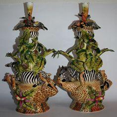 Leopard Zebra Candlestick Pair