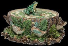 Victorian era Germany. Frog and Duck Majolica Game Dish. Lonitz.   Inspired by the similar Minton model. This one is more rugged, and has the frog finial. Twig base.
