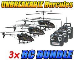Hercules X Black Series Unbreakable 3.5CH RC Helicopter 3-Pack Bundle
