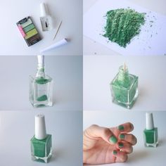 Make Your Own Nail Polish!  Use a butter knife to scrape eyeshadow out of it's container and crush it up on a piece of paper so that it's in a powder consistency  Using a bottle of clear nail polish, roll your paper into the shape of a funnel and add the eyeshadow into the bottle. You might want to empty come of clear nail polish out before so it doesn't overflow  Use a toothpick to mix up the color into the bottle. Shake until all the powder is evenly distributed.  -From thegirlnextdior