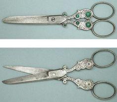 Decorative-Antique-Malachite-Set-Sewing-Scissors-Circa-1900