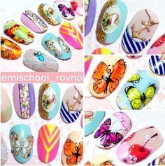 E.MI Butterfly Nail Designs, School Nails, Art Tutorials, Hair Beauty, Nail Art, Vintage, Finger Nails, Manicure, Projects