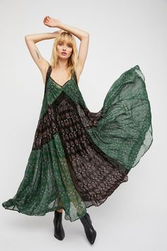 We Broke Free Maxi Dress | **Fit:** Dress is very oversized. Inside slip is fitted.    Easy and effortless printed maxi dress featured in an oversized and flowy silhouette.  * Pieced with crochet detailing with beaded accents * Sheer chiffon fabric * V-neckline * Lined with a half-slip