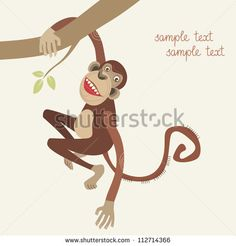 Vector  monkey hanging from a tree branch. Abstract color Illustration in cartoon style with fantasy funny personage. Drawing stylized graphic background of wildlife and zoo with text box