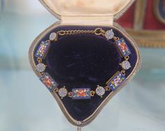 Antique Micro Mosaic bracelet with beautiful flowers, 19th century