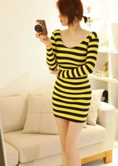 ₱757.00 #Fashion #Yellow #Dress #Korean http://asianfashion.ph/product/sexy-yellow-dress-78030/