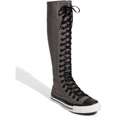 Converse Chuck Taylor 'XX Hi' Knee High Sneaker ($40) ❤ liked on Polyvore featuring shoes, sneakers, converse, boots, sapatos, women, canvas lace up sneakers, converse sneakers, converse footwear and lacing sneakers