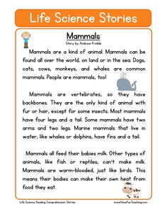 This Reading Comprehension Worksheet - Mammals is for teaching reading comprehension. Use this reading comprehension story to teach reading comprehension.
