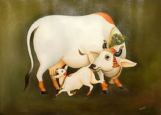Gain peaceful and happy life by Offering seva to Lord Krishna, which in turn supports Prasadam Distribution, Nitya Annadana, Go Poshana and Cultural education Services. Krishna Painting, Cow Painting, Madhubani Painting, Krishna Art, Silk Painting, Lord Krishna, Krishna Images, Pichwai Paintings, Indian Art Paintings