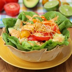 Tortilla Bowl Salad Try making these amazing salad bowls with local produce from Walmart! https://bzfd.it/2syxbz1
