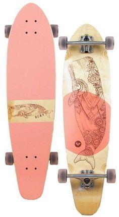 Roxy Balina Longboard Skateboard in Pink at Surfboards Etc Skate Longboard, Longboard Design, Skateboard Design, Skateboard Decks, Longboard Cruiser, Pintail Longboard, Bamboo Longboard, Longboard Decks, Roxy Surf