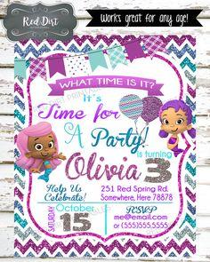 Custom Bubble Guppies Invitation; Printable Birthday Invitation; Bubble Guppies Theme Party; Purple; Blue; Turquoise; Glitter Invitation by RedDirtPrintables on Etsy