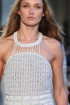 Ferragamo did some terrific work combining crochet with fringe for the runway.