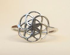 Sterling Silver Ring Silver Seed of Life Ring by MYJewelryEtsyShop