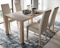 Comedor MISTRAL de Expormim. Mesa rectangular fija y sillas tapizadas. De madera de roble, acabados tinte y sólido (blanco laca). Tapa, opcionalmente, porcelánico. Estilo moderno.