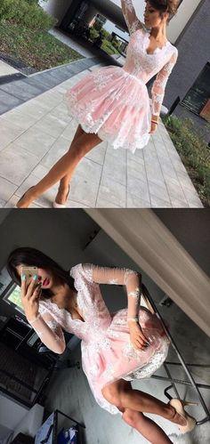 Elegant Long Sleeves Pink Knee Length Homecoming Dress