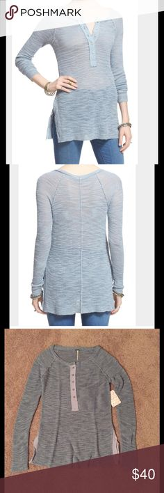 Free People Long Sleeve Henley Tee The perfect long and lean silhouette, split hem and roll-ready sleeves make this lightweight Henley tee a wardrobe must-have. Half-placket with button closure, scoop neck, long sleeves, sheer - base layer recommended. 31% nylon, 29% wool, 40% acrylic. Dry clean or hand wash cold, dry flat. Free People Tops Tees - Long Sleeve