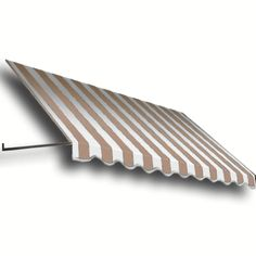 AWNTECH 50 ft. Dallas Retro Window/Entry Awning (24 in. H x 36 in. D) in Linen/White Stripe, Brown/Tan