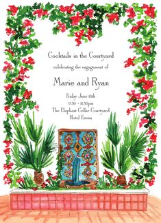 Mediterranean Fountain Invitation designed by Flower and Vine Hotel Emma, December 11, Engagement Party Invitations, Free Paper, Invitation Design, Fountain, Shapes, Flowers, Florals