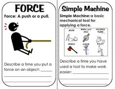 Simple Machines Book with definitions, descriptions, visualization, etc. A great introduction or review of the simple machines!Included in the book are review (fill in the blank) questions and a scavenger hunt.Words/definitions included in the book:Force, Work, energy, simple machine, lever, pulley, inclined plane, screw, wedge, and wheel and axle.pages are designed to be copied, cut in half and stapled as a book.
